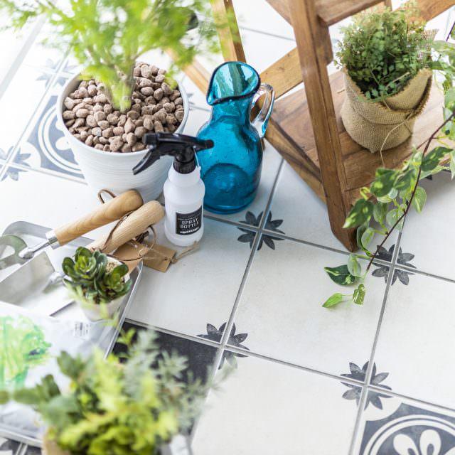 植物を飾るボタニカルスペースの床にはお手入れのしやすいおしゃれな花柄タイルを