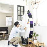 サーフボードを飾ったおしゃれな玄関土間